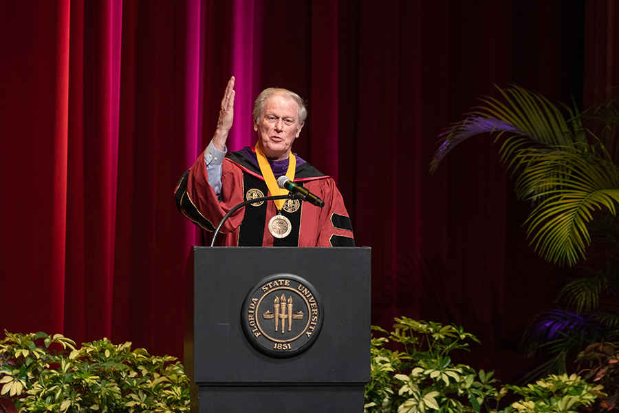 President John Thrasher closes Florida State University's virtual summer commencement ceremony with the Warchant Friday, July 31, 2020. (FSU Photography Services)