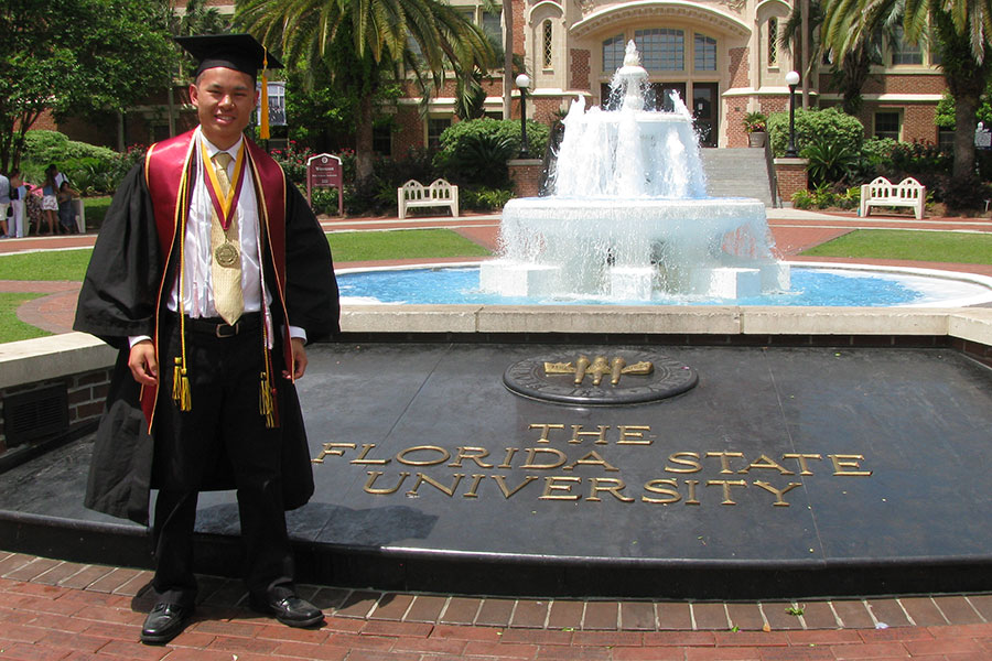 Arnel Garcesa graduated with a second bachelor's degree, this time in statistics.