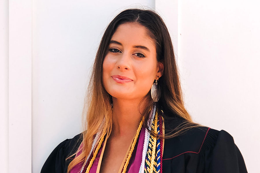 Dominique Hoffman earned dual bachelor's degrees in political science and international affairs.