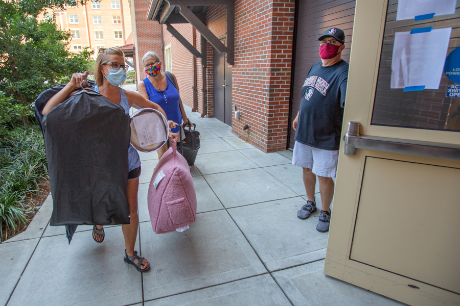 FSU students move in on Aug. 12, 2020, to residence halls in preparation for the fall semester. (FSU Photography Services)