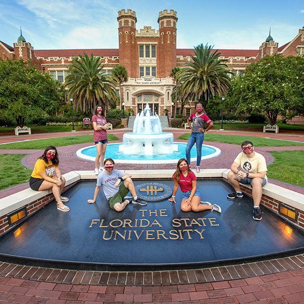 FSU's new freshman class is one of the brightest in university history. From left to right: Annie Blanchard, Liz Orraca, Robert Szot, Caroline Hamon, Jordyn Dees, Gabe Pfeuffer-Ferguson. (FSU Photography Services)