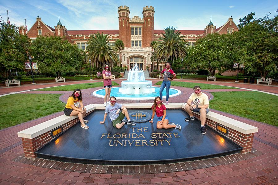 FSU's new freshman class is one of the brightest in university history. From left to right: Annie Blanchard, Liz Orraca, Robert Szot, Caroline Hamon, Jordyn Dees, Gabe Pfeuffer-Ferguson. (FSU Photography Services)