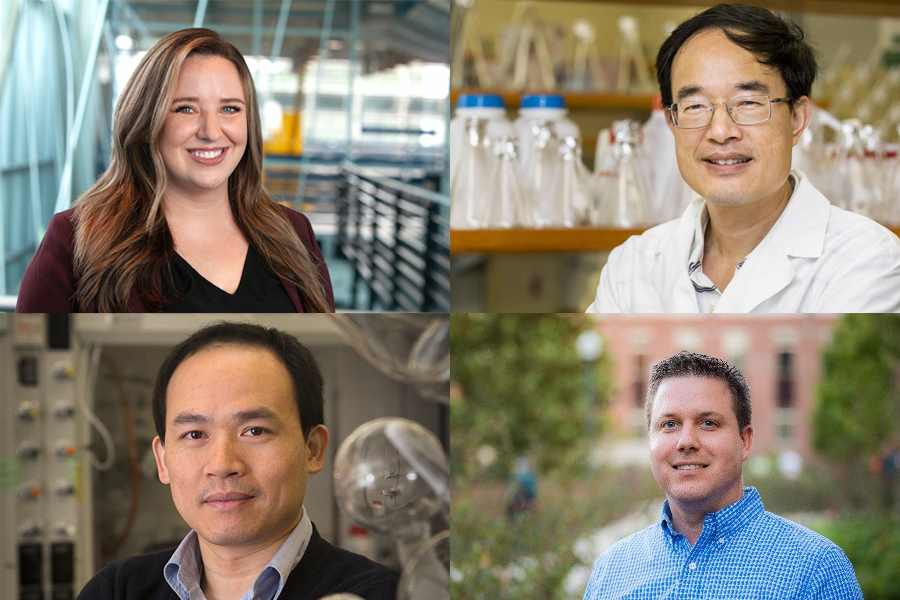 Clockwise from upper left: Rebekah Sweat, an assistant professor in the Department of Industrial and Manufacturing Engineering; Zucai Suo, a professor in the Department of Biomedical Sciences; David Meckes, an associate professor in the Department of Biomedical Sciences; and Biwu Ma, an associate professor in the Department of Chemistry and Biochemistry. They earned funding from Florida State University's Spring 2020 GAP program to transform their research into potential commercial products.