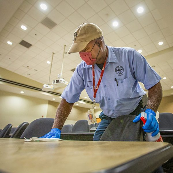Since the beginning of the coronavirus pandemic, FSU Facilities has implemented enhanced cleaning and disinfecting procedures in classrooms, common areas, offices and other sites of services. (FSU Photography Services)