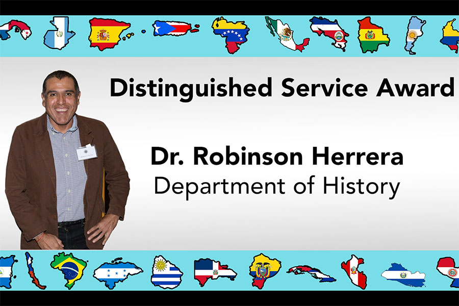 Associate Professor of History Robinson Herrera received the Latinx Distinguished Service award. (The Center for Leadership & Social Change)