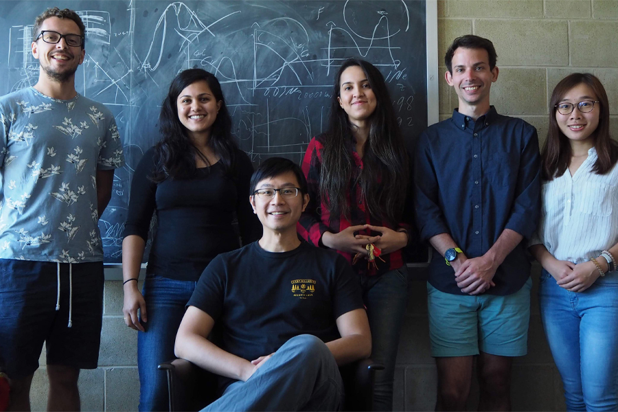 Assistant Professor of Physics Eric Hsiao, seated, with researchers, from left, Chris Ashall, Sahana Kumar, Melissa Shahbandeh, Scott Davis and Jing Lu. Courtesy of Eric Hsiao