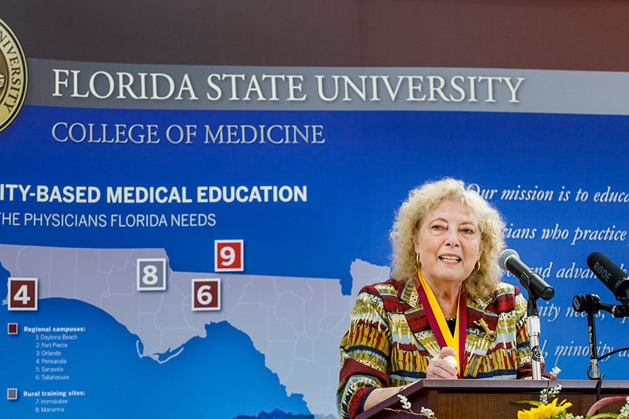 Myra Hurt speaks during her Westcott Medal award ceremony Sept. 2, 2020 at the College of Medicine. (FSU College of Medicine)