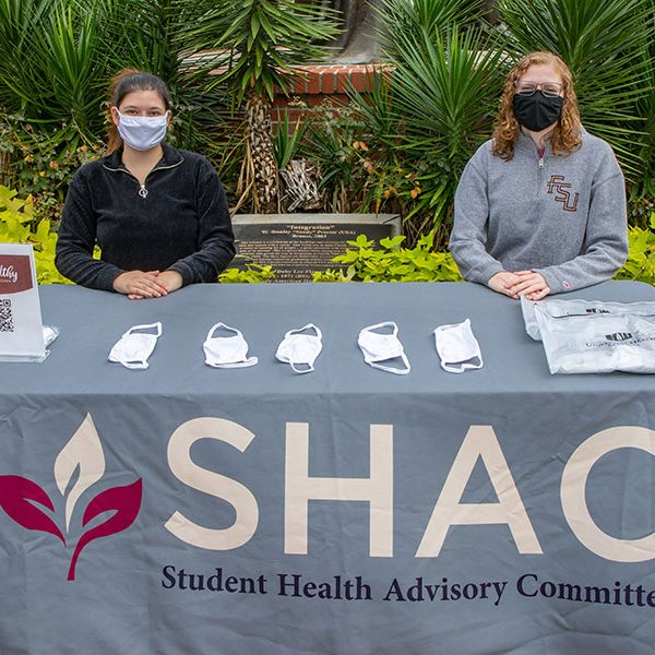 Students Jordyn Kohn (L) and Morgan Barnes (R) are part of the Stay Healthy Ambassador Program (SHAP), which trains student and staff volunteers to promote healthy behaviors in the campus community. (FSU Photography Services)