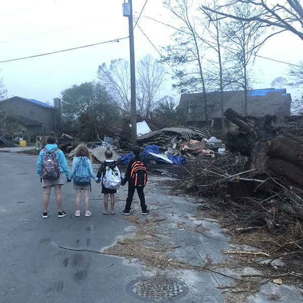 Kids in Panama City heading back to school a couple weeks after Hurricane Michael. FSU researchers are helping to develop operational procedures for public libraries during natural disasters through a grant from the Institute for Museum and Library Services (IMLS). (Florida State Archives)