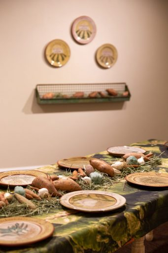 Table Setting with Commemorative Plate Installation