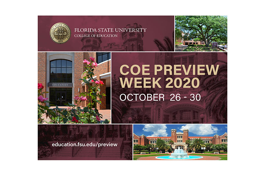 The FSU College of Education is hosting COE preview week, an opportunity for prospective students to learn more about the college's graduate and certificate programs. (FSU College of Education)