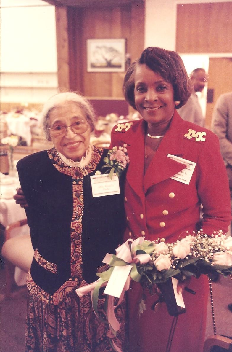 Groomes-McLendon, right, with Rosa Parks at the honorary degree ceremony for Parks on Nov. 21, 1994.
