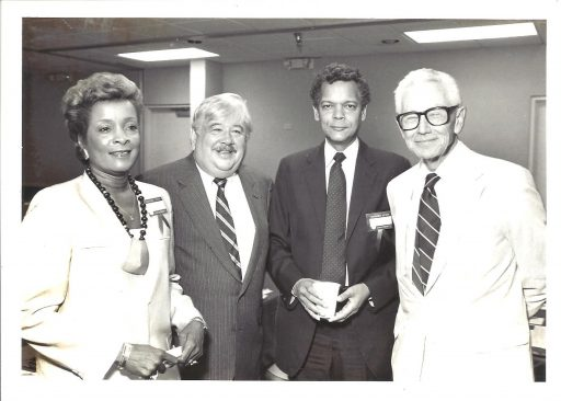 From left, Groomes-McLendon with President Bernard Sliger, Julian Bond and Gov. Leroy Collins at the Equal Opportunity Affirmative Action conference at FSU in 1985.