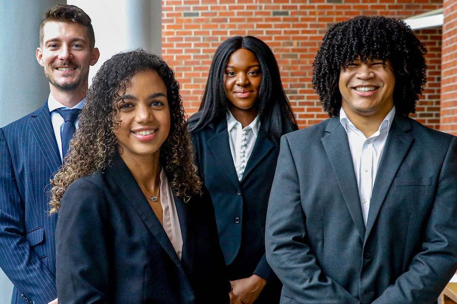 The Florida State University College of Law Trial Team, from left to right: Halley Lewis, Sidney Carter, Shaina Ruth and Christopher Ramirez.
