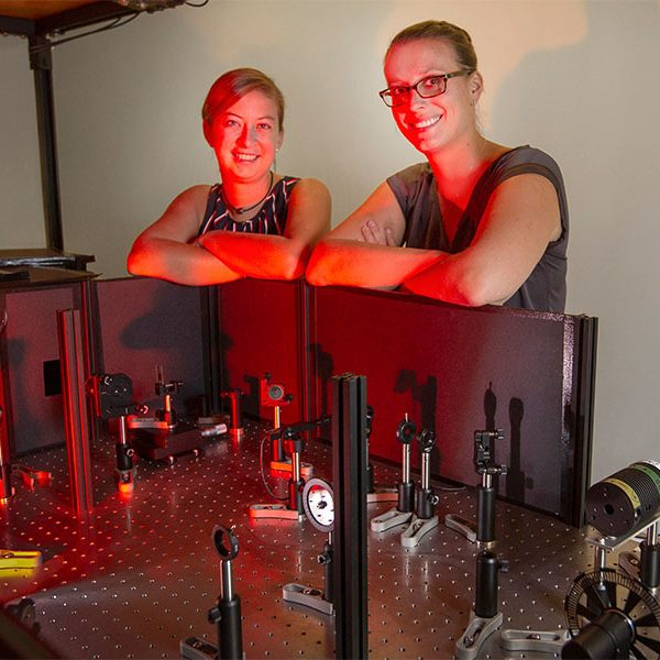 Former Florida State University postdoctoral researcher Sarah Wieghold, left, and FSU Assistant Professor of Chemistry and Biochemistry Lea Nienhaus. Their research is helping to understand the fundamental processes in a material known as perovskites, work that could lead to more efficient solar cells that also do a better job of resisting degradation. (FSU Photography Services)