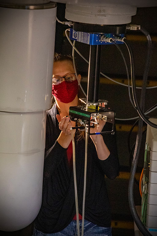 Helsper is using the 21.1 T magnet at the National High Magnetic Field Laboratory to track tissue recovery progression and to measure sodium and metabolite levels in models of strokes over an extended period of time. (FSU Photography Services/Bill Lax)