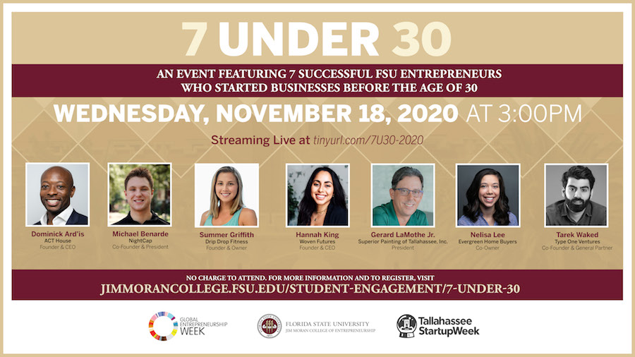 This is the ninth annual 7 Under 30 event honoring FSU graduates who have launched their own companies.