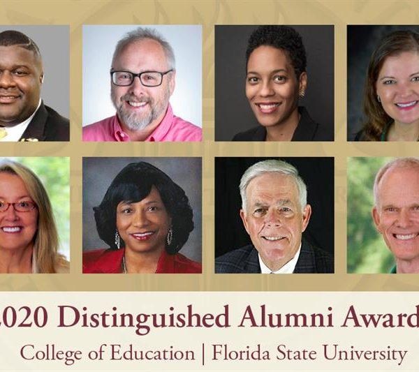 "The FSU College of Education's Distinguished Alumni for 2020. Top row, left to right: Abria Ja'Mar Harris, Paul M. Pedersen, Amelia Parnell and Erika Lowery. Bottom row, left to right: L. ""Cissy"" Petty, Shirley Green-Reese, William V. Husfelt, III and Ellington Darden. (FSU College of Education)"