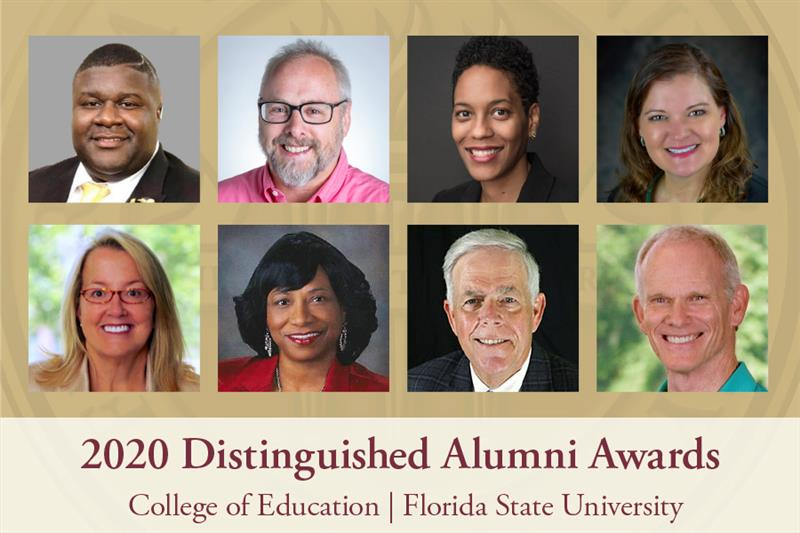 """The FSU College of Education's Distinguished Alumni for 2020. Top row, left to right: AbriaJa'MarHarris, Paul M. Pedersen, Amelia Parnell and Erika Lowery. Bottom row, left to right: L. """"Cissy"""" Petty, Shirley Green-Reese, William V.Husfelt, III and Ellington Darden. (FSU College of Education)"""