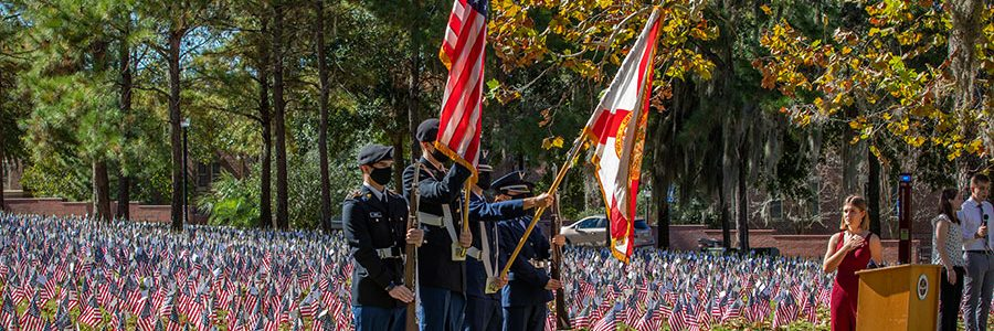 The second Fallen Heroes Ceremony was held at FSU on Nov. 16, 2020, honoring the 6,973 U.S. service members killed in action since Sept. 11, 2001. Each service member is represented by an American flag with their name, picture and home state. (FSU Photography Services)