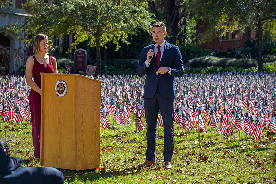 SGA President Jonathan Levin speaks during the second Fallen Heroes Ceremony held at FSU's Mina Jo Powell Green on Nov. 16, 2020, The ceremony honored the 6,973 U.S. service members killed in action since Sept. 11, 2001. (FSU Photography Services)