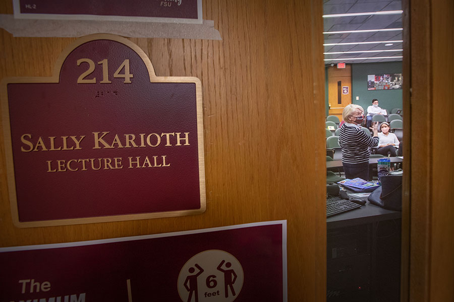 FSU named a lecture hall after Sally Karioth in 2014. (FSU Photography Services)
