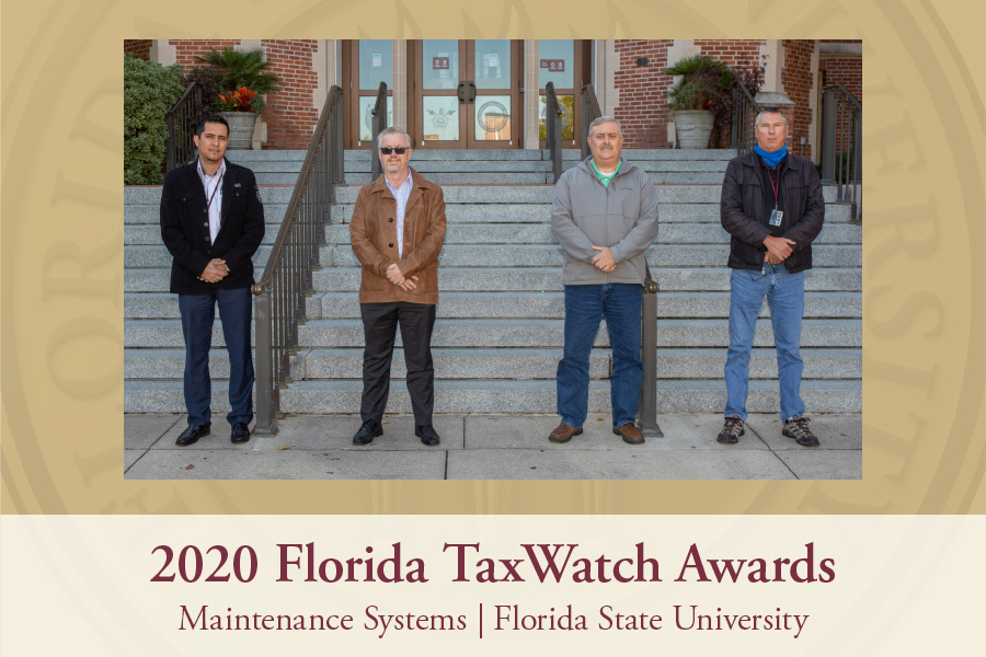 <strong>Mauro Mancilla</strong>, maintenance systems engineer | <strong>James Stephens</strong>, executive director of Campus Utilities and Maintenance | <strong>Chad Cooper</strong>, assistant director of maintenance | <strong>Jerry Alexander</strong>, assistant director of maintenance