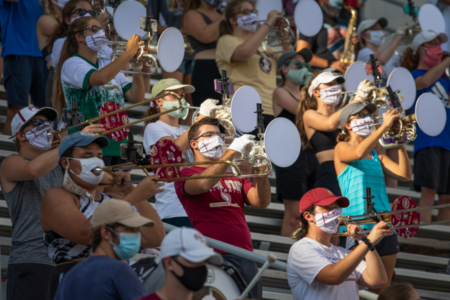 The Marching Chiefs follow social distancing guidelines during practice at the Doak Campbell Stadium in Fall 2020. (FSU Photography Services)