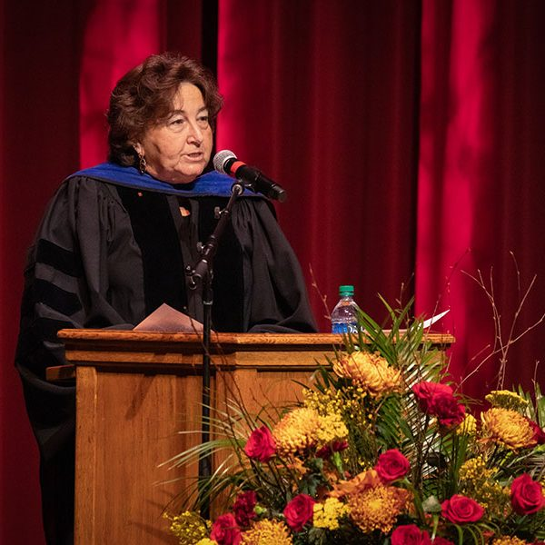 Professor of Meteorology Sharon Nicholson, 2020-2021 Robert O. Lawton Distinguished Professor, delivers the keynote address to graduates during fall virtual commencement, which was webcast Friday, Dec. 11, 2020. (FSU Photography Services)