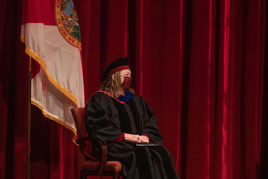Provost Sally McRorie participates in fall virtual commencement, which was webcast Friday, Dec. 11, 2020. (FSU Photography Services)