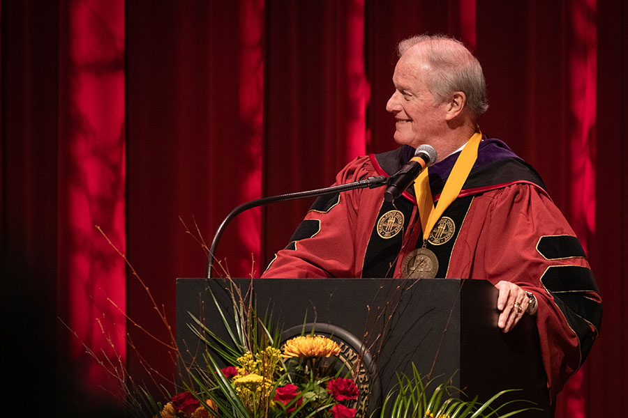 President John Thrasher addresses graduates during fall virtual commencement, which was webcast Friday, Dec. 11, 2020. (FSU Photography Services)
