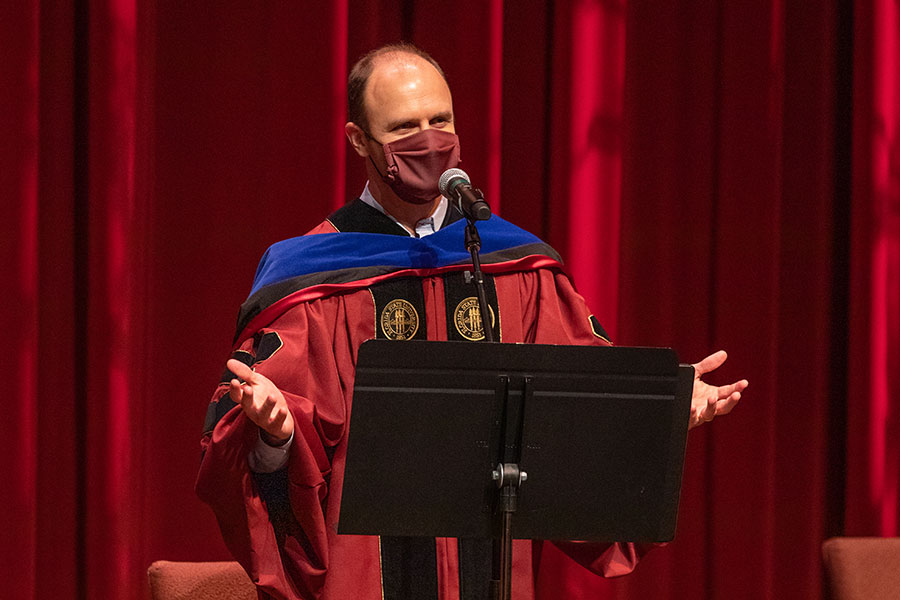 Joe O'Shea, dean of Undergraduate Studies, confers degrees to graduates during fall virtual commencement, which was webcast Friday, Dec. 11, 2020. (FSU Photography Services)