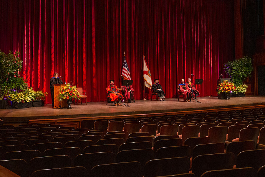 Florida State University's fall virtual commencement took place at Ruby Diamond Concert Hall and was webcast Friday, Dec. 11, 2020. (FSU Photography Services)