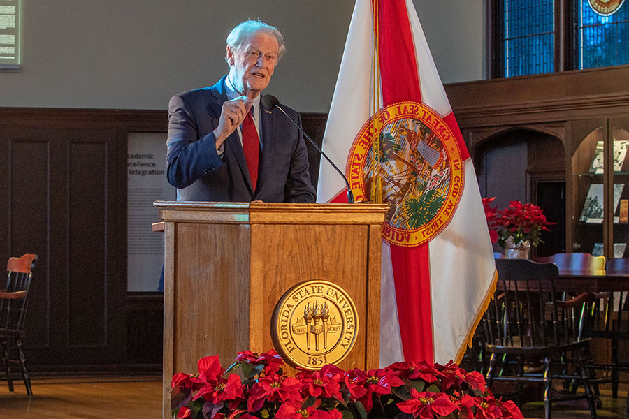 President John Thrasher delivered his sixth State of the University address to the Faculty Senate Wednesday, Dec. 2, 2020, at the Heritage Museum in Dodd Hall. (Bill Lax/FSU Photography Services)