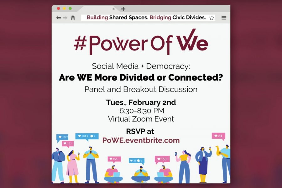 """FSU's Power of WE will host the fifth installment of the its signature Shared Spaces event series to mark the launch of Power of WE 2.0. The virtual event, """"Social Media + Democracy: Are WE More Connected or Divided?"""", will take place from 6:30 – 8:30 p.m. Tuesday, Feb. 2. (Power of WE)"""