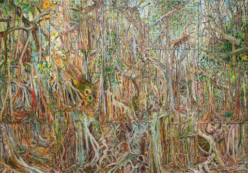 Lilian Garcia-Roig, Fluid Perception: Banyan as Metaphor, 15 panel version, oil on canvas.
