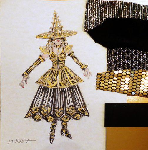 Architecture – Glistening Gothic Tracery, watercolor sketch (2020). Costume Designer: Colleen Muscha.