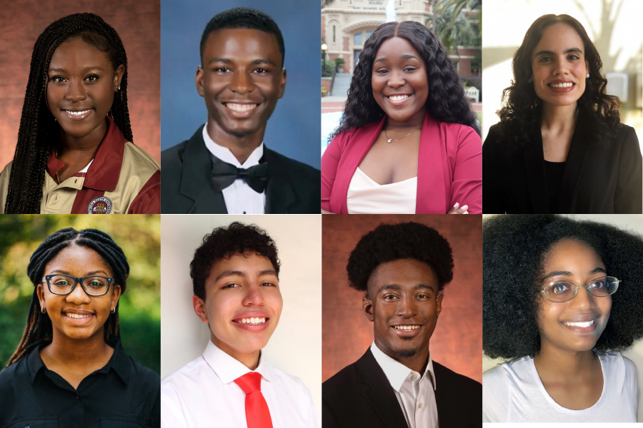 "Florida State University's 2021 recipients of the Benjamin A. Gilman International Scholarship Program. (From left) Front row: Nyla Chute, Melissa Toussaint, Jonathan ""JD"" Dorsey, Alexza Alamo. Second row: Roshelle Thompson, Alex Bustamante, Davion Jeanty and Djaina-shae ""DJ"" Dervil."