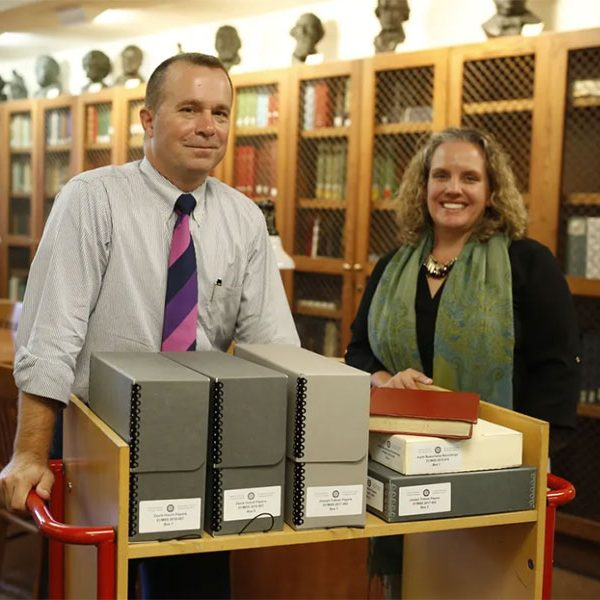 (L to R) Davis Houck, Fannie Lou Hamer Professor of Rhetorical Studies, and Katie McCormick, associate dean for Special Collection and Archives. (FSU Libraries)