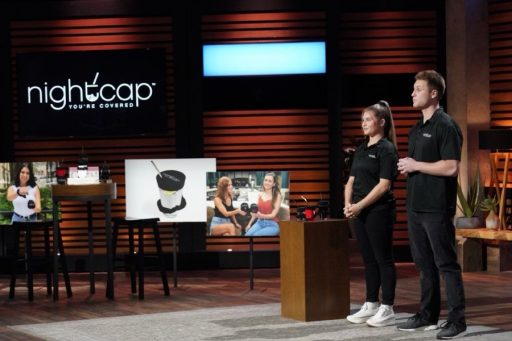 Michael and Shirah Benarde on the set of ABC's Shark Tank, where they struck a $60,000 deal.