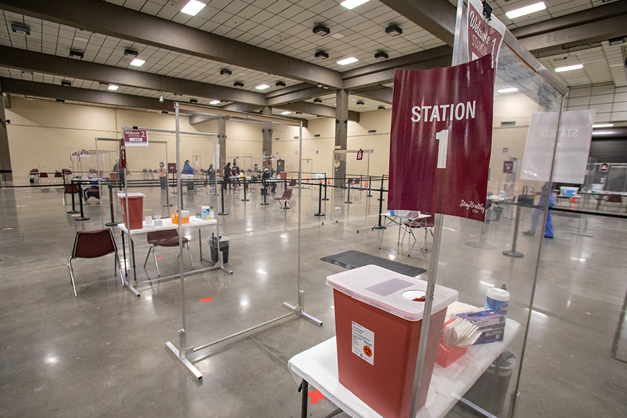 The exhibition hall of the Donald L. Tucker Civic Center, where patients receiving a vaccine from Florida State University go to receive their shot. Florida State University is working with the Florida Department of Health in Leon County to vaccinate people against COVID-19, part of the university's ongoing efforts to help contain the spread of the virus. (FSU Photography Services / Bill Lax)