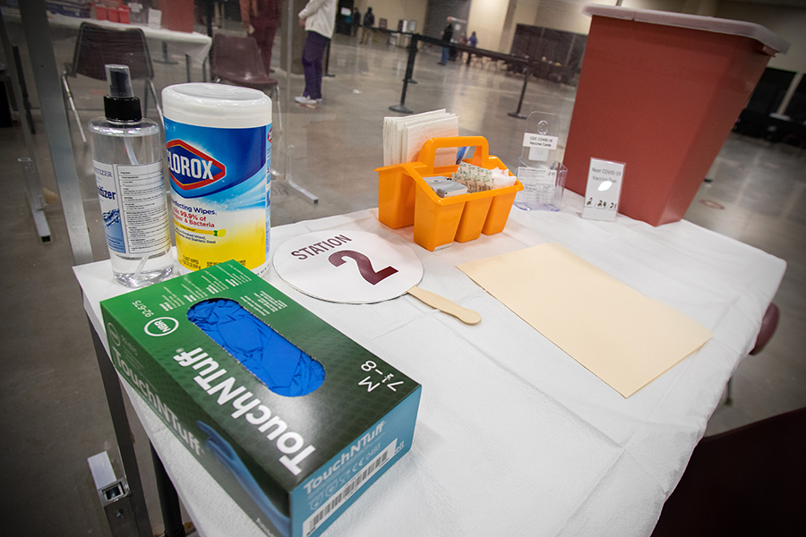 A station set up to receive a patient at the Donald L. Tucker Civic Center. (FSU Photography Services / Bill Lax)