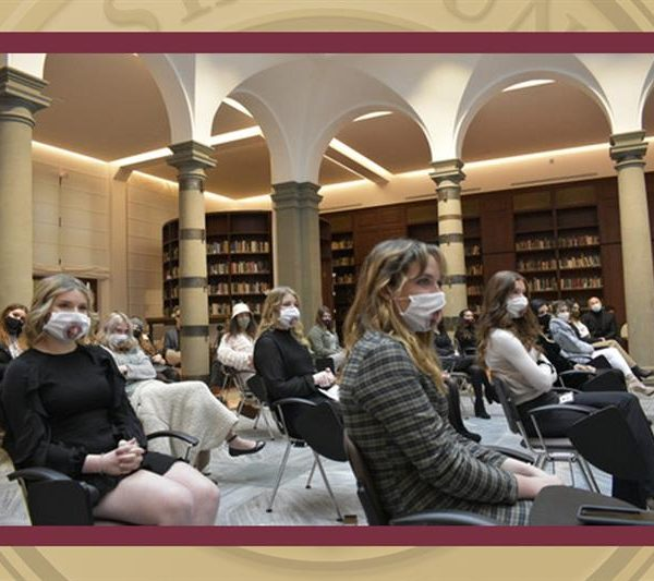 Students, staff and government officials gathered inside the library at FSU's study center in Florence, Italy to commemorate the current group of FSU students taking part in study abroad programs there.