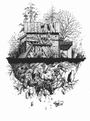 Jim Dawkins, of the earth, ink on Moleskine grid paper (2016)