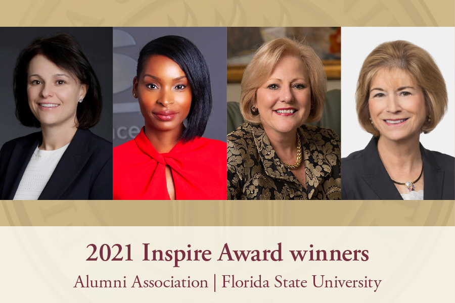 2021 Inspire Award recipients (L to R) Marion Hargett, J'Tia Hart, Nan Casper Hillis and Cecelia Bonifay