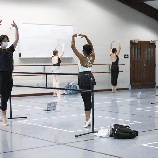 First year dance majors take an in-studio Ballet class.