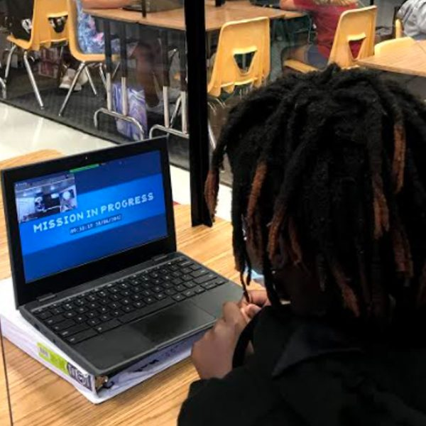A student participates in a virtual Europa Encounter mission. (Courtesy of the Challenger Learning Center of Tallahassee)