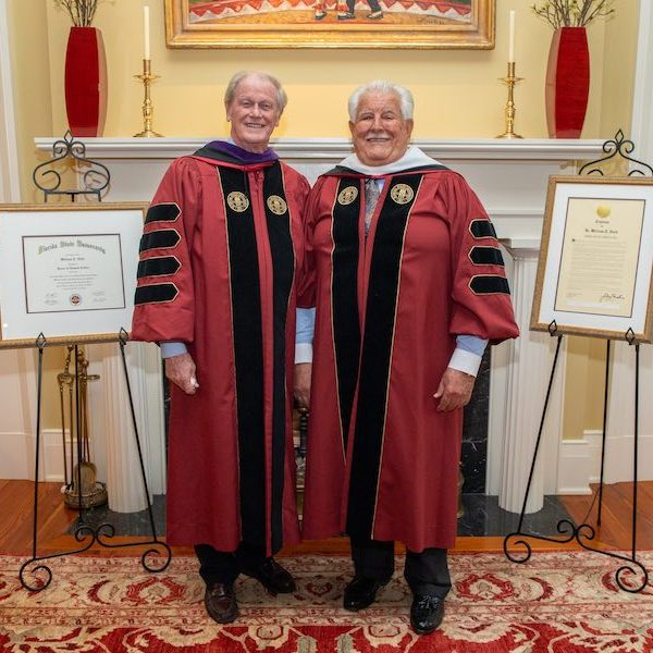 """President John Thrasher joked that William T. Hold would now have to be called """"Doctor Doctor"""" on account of his PhD and his newly earned honorary doctoral degree."""