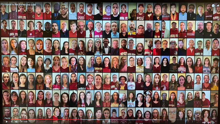 """Virtual choir performance of """"Hymn to the Garnet and Gold,"""" an effort that involved nearly 200 FSU students, alumni, and faculty."""