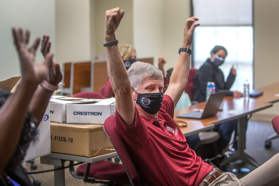 Florida State University College of Medicine Dean John P. Fogarty celebrates during the college's 2021 Match Day virtual event. (FSU Photography Services/Bruce Palmer)